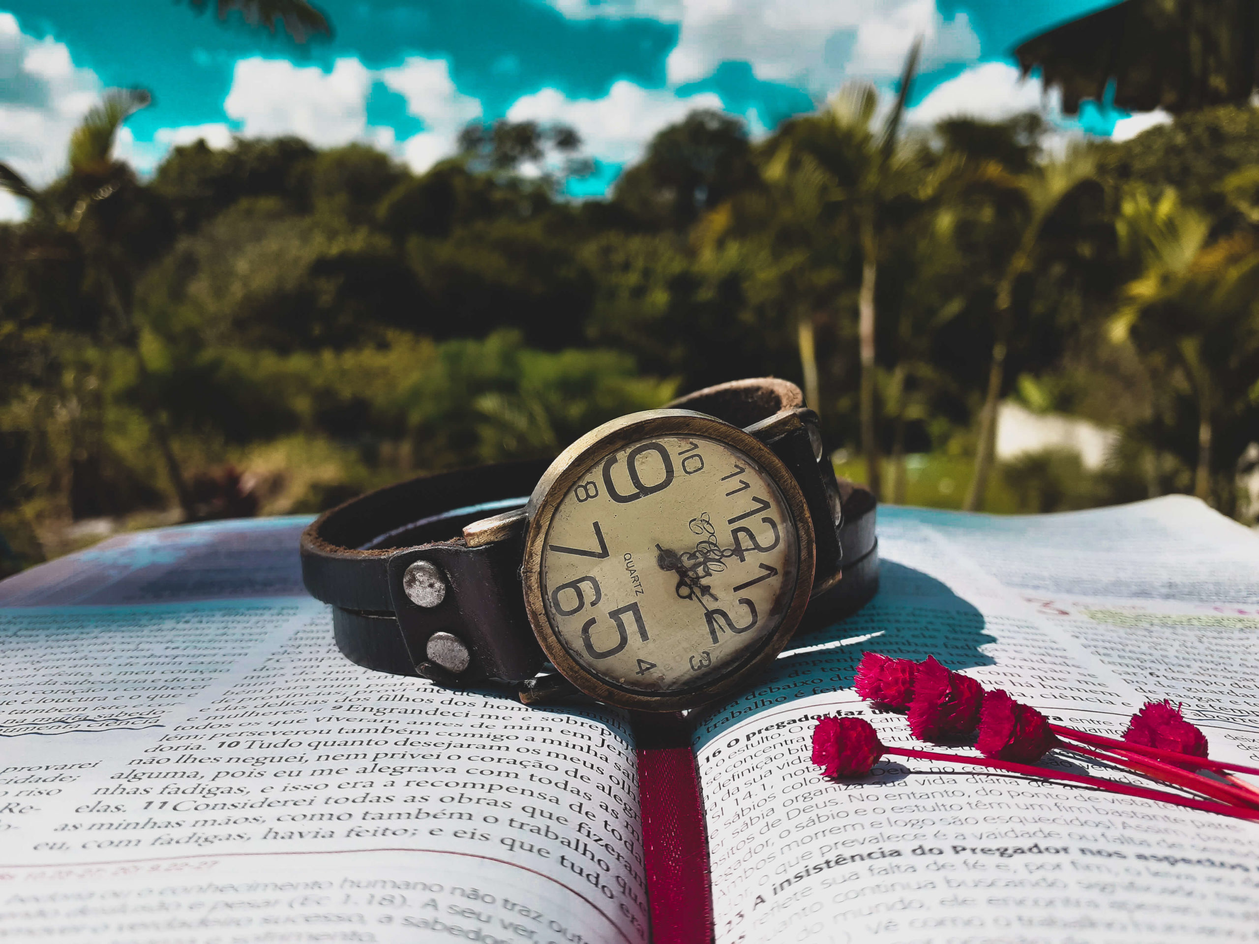 Watch on top of an open Bible