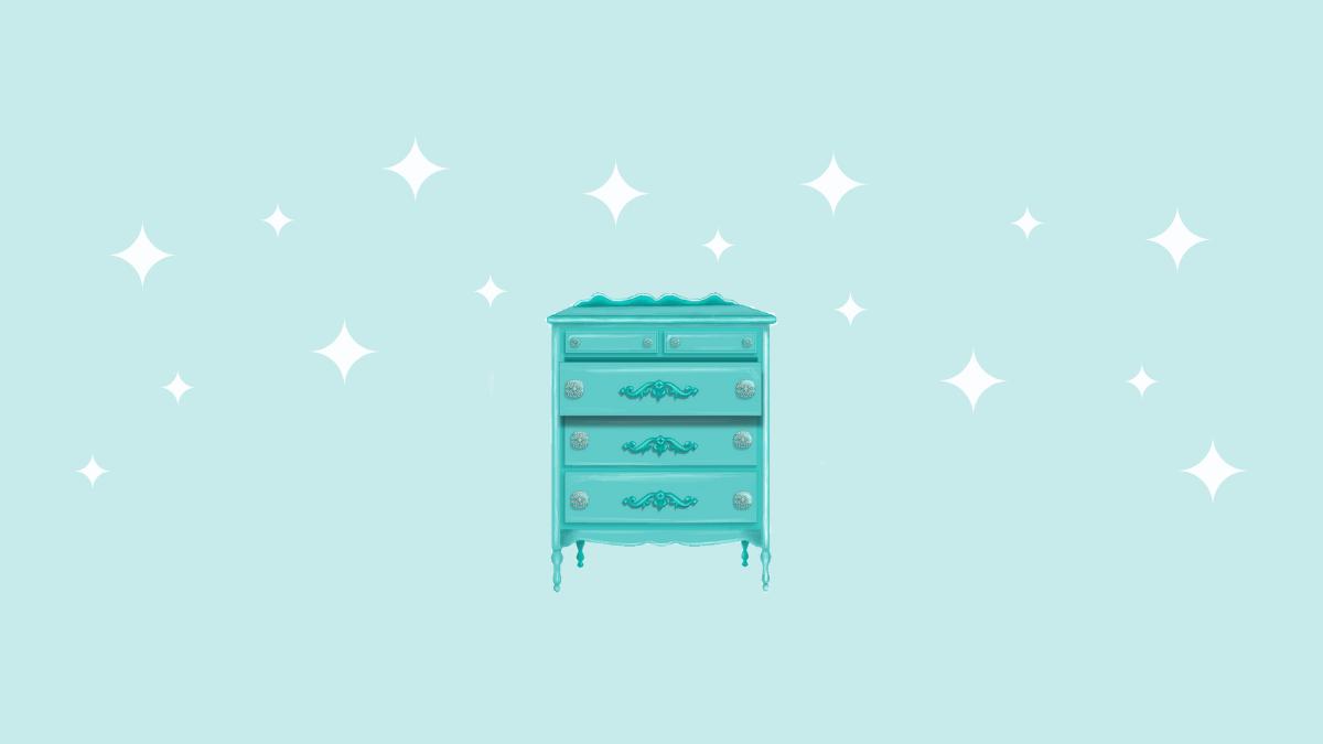 dresser illustration teal